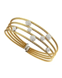 Alor Square Diamond Station Bangle White Gold