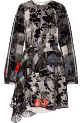 Preen By Thornton Bregazzi Beulah Floral Print Devore Silk Dress Navy