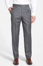 Hickey Freeman Men's Big And Tall 'B Series' Flat Front Wool Trousers Grey