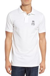 Psycho Bunny Men's 'Alto Bunny' Pima Cotton Pique Polo White