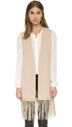 Vince Luxe Vest With Leather Fringe H. Khaki