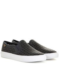 Tory Burch Lennon Perforated Leather Slip On Sneakers Blue