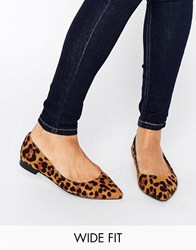 Asos Lacey Wide Fit Pointed Ballet Flats Animal Multi