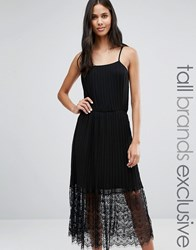 Y.A.S Tall Line Cami Strap Lace Midi Dress Black