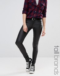Noisy May Tall Eve Low Waist Super Slim Coated Jean Black