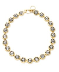 Abs By Allen Schwartz Gold Tone Crystal Toggle Collar Necklace