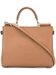 Dolce And Gabbana 'Sicily' Shopping Tote Brown
