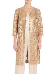 St. John Suede Floral Laced Open Front Coat Gold
