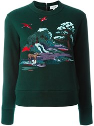 Coach Embroidered Landscape Sweatshirt Green