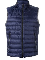 Fay Padded Zip Gilet Blue
