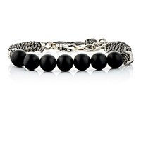 Emanuele Bicocchi Men's Beaded And Braided Chain Bracelet Silver
