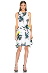 Proenza Schouler Printed Viscose Georgette Waisted Dress In White Floral Green Blue