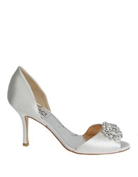 Badgley Mischka Lacie Embellished Satin Pumps White Satin