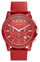 Men's Ax Armani Exchange Chronograph Silicone Strap Watch 44Mm Red Red