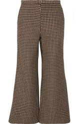 Rosetta Getty Cropped Houndstooth Wool Flared Pants Brown