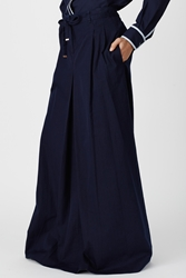 Veronique Branquinho Front Tie Pleated Long Skirt Electric Blue
