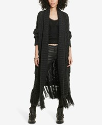 Denim And Supply Ralph Lauren Fringed Open Front Cardigan Charcoal