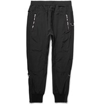 Wooyoungmi Tapered Grosgrain Trimmed Textured Shell Trousers Black