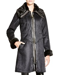 Via Spiga Faux Shearling Jacket With Faux Fur Collar Black