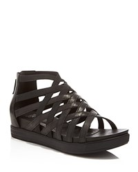 Eileen Fisher Airy Caged Open Toe Platform Wedge Sandals Black