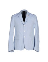 M.Grifoni Denim Suits And Jackets Blazers Men Sky Blue