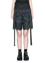 Sacai Botanical Print Embroidery Lace Culotte Shorts Multi Colour