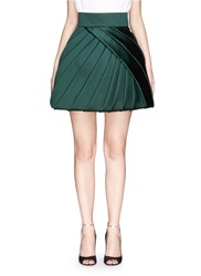 Dice Kayek Made To Order 'Nenuphar' Silk Pleat Layer Skirt Green