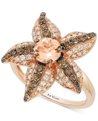 Le Vian Chocolatier Peach Morganite 5 8 Ct. T.W. And Diamond 7 8 Ct. T.W. Starfish Ring In 14K Rose Gold