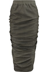 Rick Owens Ruched Textured Leather Midi Skirt Green