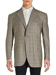 Canali Checkered Silk And Wool Blazer Brown