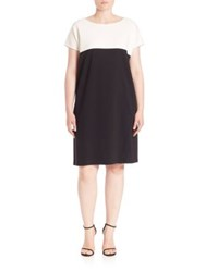 Marina Rinaldi Plus Size Sport Colorblock Shift Dress Black White