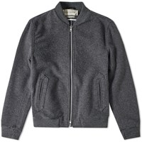 Oliver Spencer Bermondsey Wool Bomber Jacket Grey