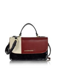 Roccobarocco Medium Patent Eco Leather Satchel Bag Burgundy