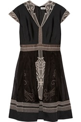 Temperley London Girona Embroidered Organza And Silk Blend Dress Black