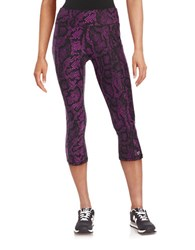 Betsey Johnson Printed Cropped Leggings Neon Orchid