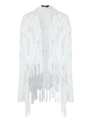 Jane Norman All Over Crochet Cardigan White