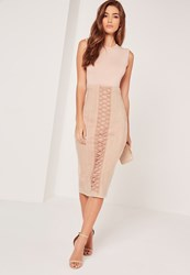 Missguided Lace Up Eyelet Faux Suede Midi Skirt Nude Beige