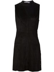 T By Alexander Wang Fitted Suede Dress Black