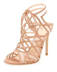 Gianvito Rossi Suede And Mesh Strappy Lace Up Sandal Praline