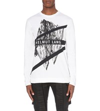 Helmut Lang Graphic Print Stretch Cotton Top White Multi