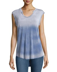 Cirana Split Scoop Neck Tie Dye Tee Blue Ombre