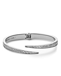 Pave Hinge Open Cuff Silver Color Michael Kors