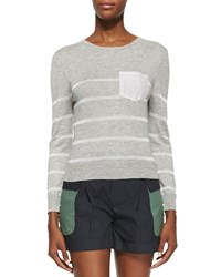 Band Of Outsiders Long Sleeve Knitted Striped Sweater Heather Gray