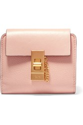 Chloe Drew Small Textured Leather Wallet Blush