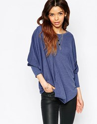 Wal G Top With Drape Front Denim