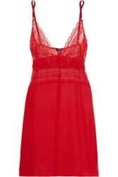 Heidi Klum Intimates Lace Paneled Silk Chiffon Camisole Red