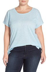 Plus Size Women's Sejour Sheer Knit Round Neck Tee Blue Crystal