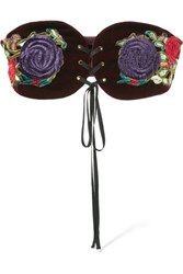 Anna Sui Embroidered Velvet Belt Merlot