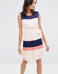 Pussycat London Colourblock Dress Peach Pink
