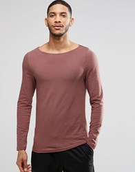Asos Muscle Long Sleeve T Shirt With Boat Neck In Rust Brown